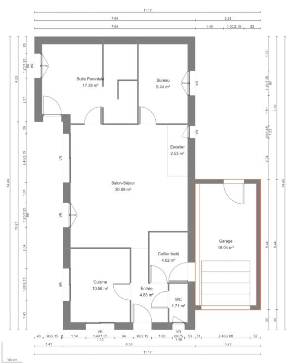 Modèle de Maison PHONOLITHE, 6 pièces de 112m² - Plan du RdC