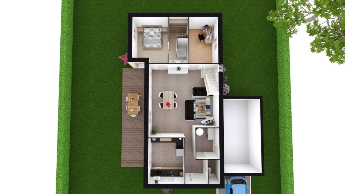 Modèle de Maison PHONOLITHE, 6 pièces de 112m² - Proposition d'Aménagement du RdC