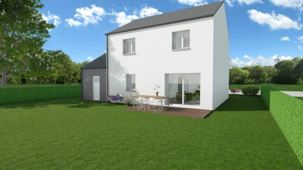 Modèle de Maison PHTALATE, 6 pièces de 109m² - Perspective Arrière en Ardoise