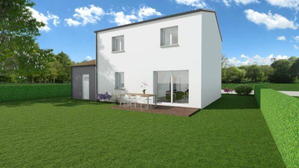 Modèle de Maison PHTALATE, 6 pièces de 109m² - Perspective Arrière en Tuile