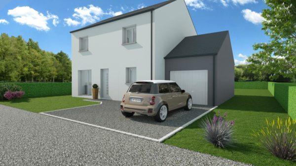 Modèle de Maison PHTALATE, 6 pièces de 109m² - Perspective Avant en Ardoise