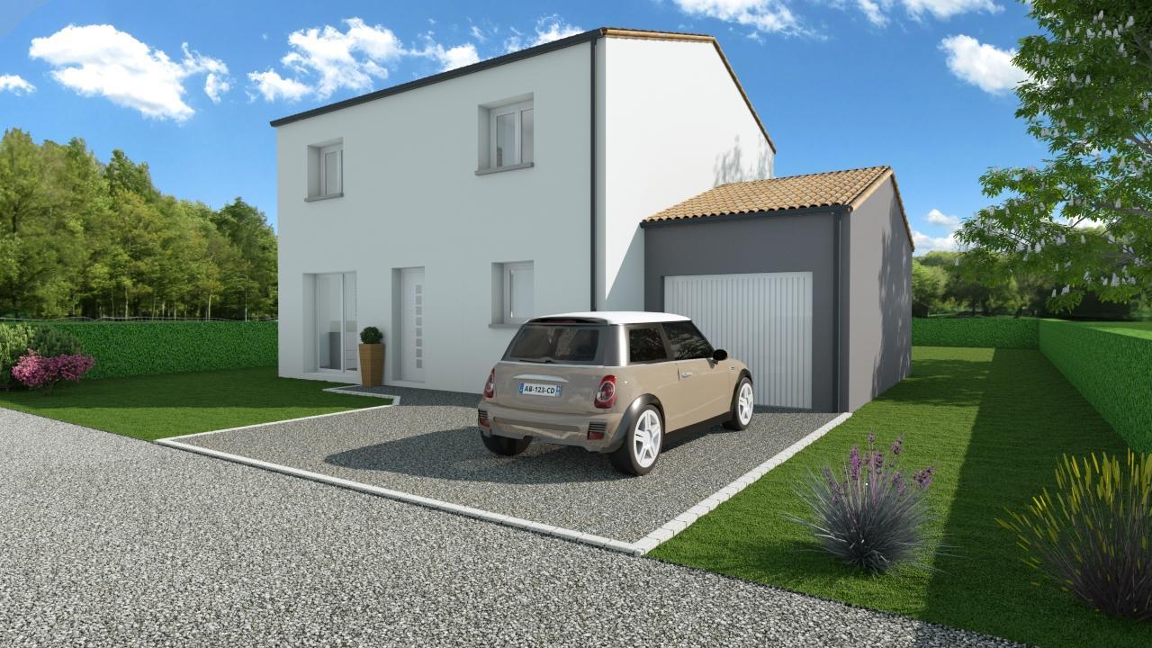 Modèle de Maison PHTALATE, 6 pièces de 109m² - Perspective Avant en Tuile