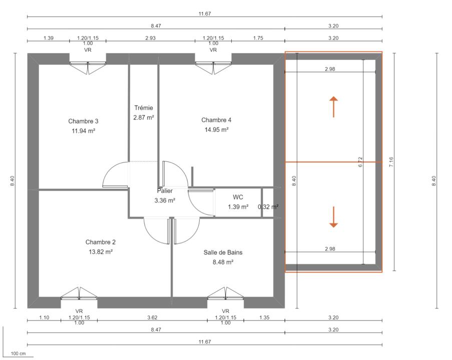 Modèle de Maison PHTALATE, 6 pièces de 109m² - Plan du R+1