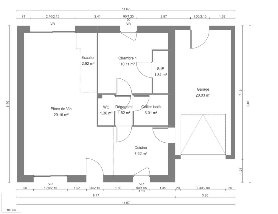 Modèle de Maison PHTALATE, 6 pièces de 109m² - Plan du RdC