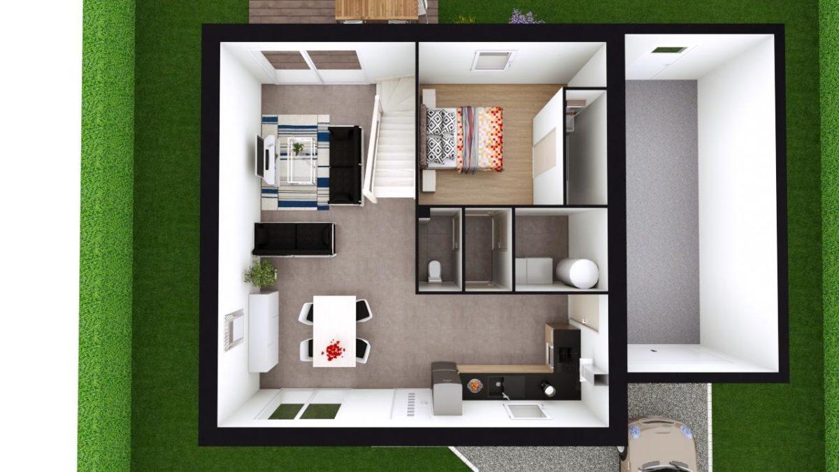 Modèle de Maison PHTALATE, 6 pièces de 109m² - Proposition d'Aménagement du RdC