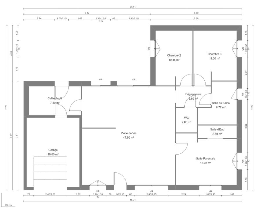 Modèle de Maison PLASMA, 5 pièces de 108m² - Plan du RdC