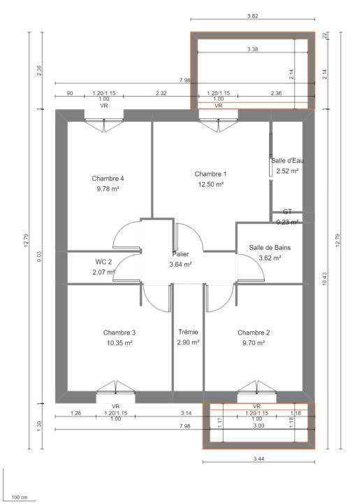 Modèle de Maison PLATINE, 5 pièces de 107m² - Plan du R+1