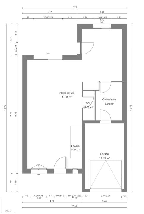 Modèle de Maison PLATINE, 5 pièces de 107m² - Plan du RdC