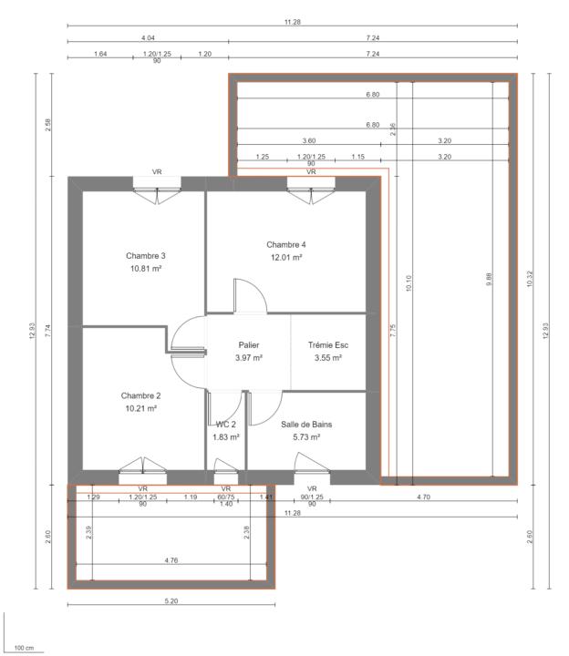 Modèle de Maison POUZZOLANE, 6 pièces de 121m² - Plan du R+1