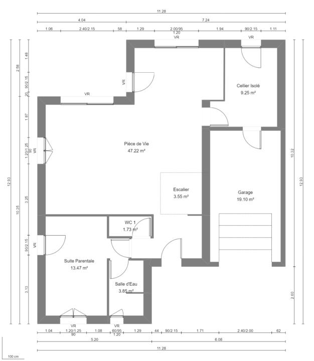 Modèle de Maison POUZZOLANE, 6 pièces de 121m² - Plan du RdC