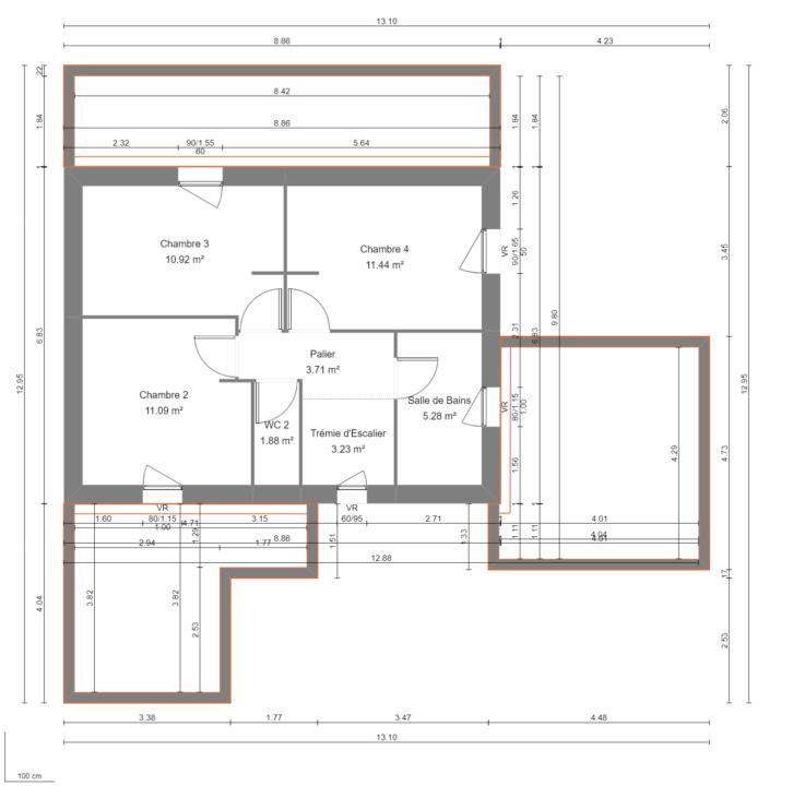 Modèle de Maison PRASÉODYME, 6 pièces de 119m² - Plan du R+1