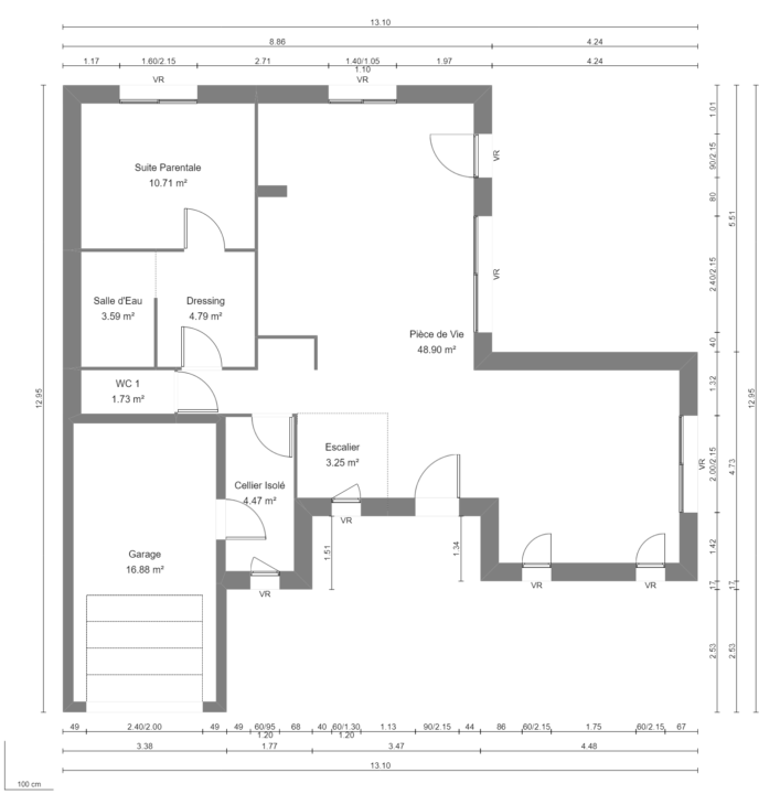 Modèle de Maison PRASÉODYME, 6 pièces de 119m² - Plan du RdC