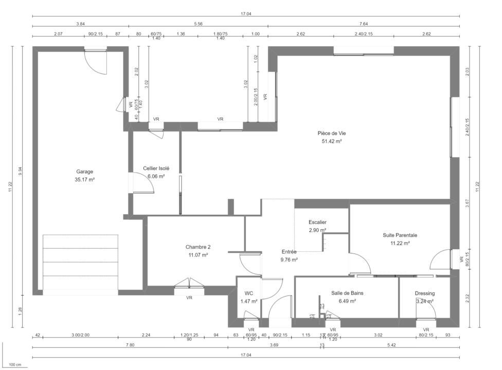 Modèle de Maison PYRITE, 6 pièces de 135m² - Plan du RdC