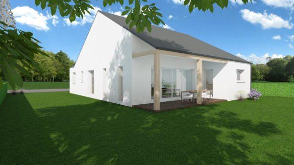 Modèle de Maison OXYLITHE, 4 pièces de 101m² - Perspective Arrière en Ardoise