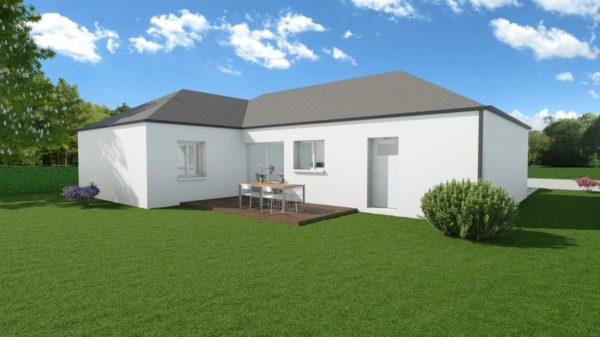 Modèle de Maison PLASMA, 5 pièces de 108m² - Perspective Arrière en Ardoise