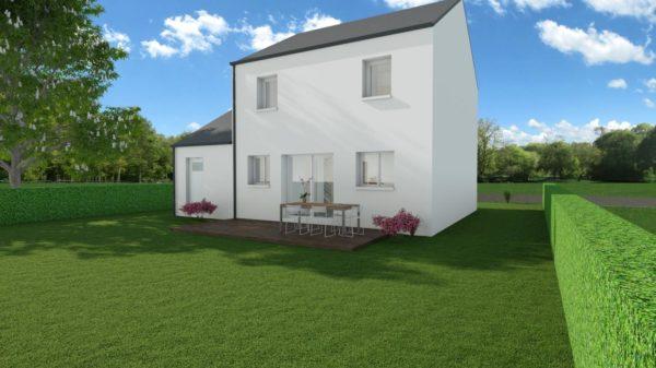 Modèle de Maison MAERL, 5 pièces de 93m² - Perspective Arrière en Ardoise