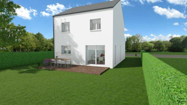 Modèle de Maison LOESS, 4 pièces de 93m² - Perspective Arrière en Ardoise