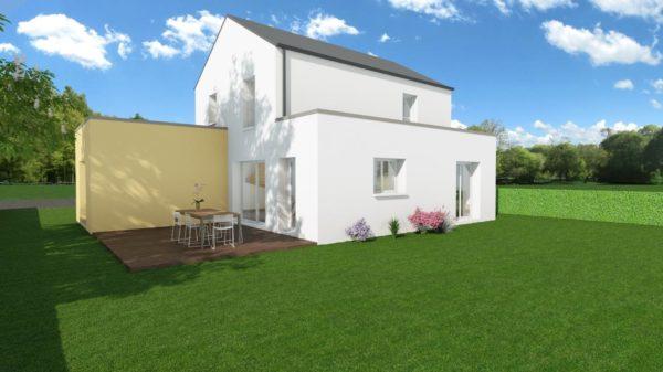 Modèle de Maison PRASÉODYME, 6 pièces de 119m² - Perspective Arrière en Ardoise
