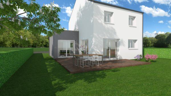 Modèle de Maison MANGANÈSE, 5 pièces de 96m² - Perspective Arrière en Ardoise