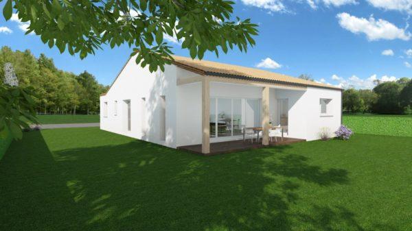 Modèle de Maison OXYLITHE, 4 pièces de 101m² - Perspective Arrière en Tuile