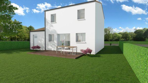 Modèle de Maison MAERL, 5 pièces de 93m² - Perspective Arrière en Tuile