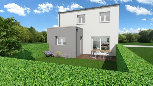 Modèle de Maison PLATINE, 5 pièces de 107m² - Perspective Arrière en Tuile