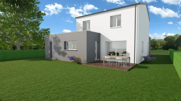Modèle de Maison POUZZOLANE, 6 pièces de 121m² - Perspective Arrière en Tuile
