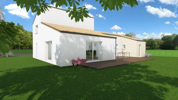 Modèle de Maison PYRITE, 6 pièces de 135m² - Perspective Arrière en Tuile