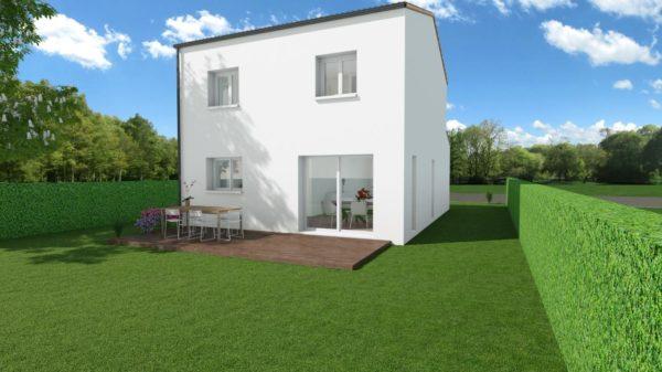 Modèle de Maison LOESS, 4 pièces de 93m² - Perspective Arrière en Tuile