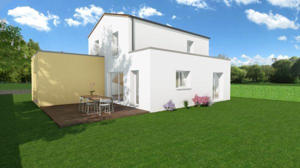 Modèle de Maison PRASÉODYME, 6 pièces de 119m² - Perspective Arrière en Tuile