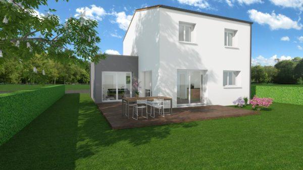 Modèle de Maison MANGANÈSE, 5 pièces de 96m² - Perspective Arrière en Tuile