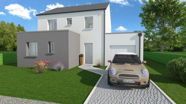 Modèle de Maison POUZZOLANE, 6 pièces de 121m² - Perspective Avant en Ardoise