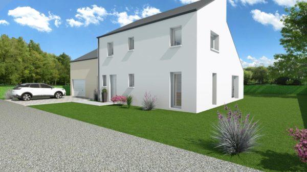 Modèle de Maison PYRITE, 6 pièces de 135m² - Perspective Avant en Ardoise