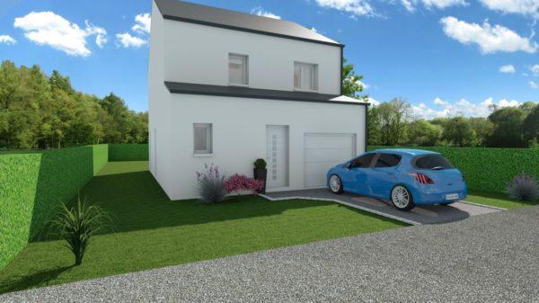 Modèle de Maison LOESS, 4 pièces de 93m² - Perspective Avant en Ardoise