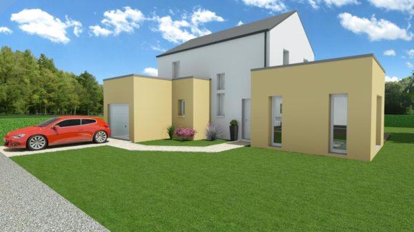 Modèle de Maison PRASÉODYME, 6 pièces de 119m² - Perspective Avant en Ardoise