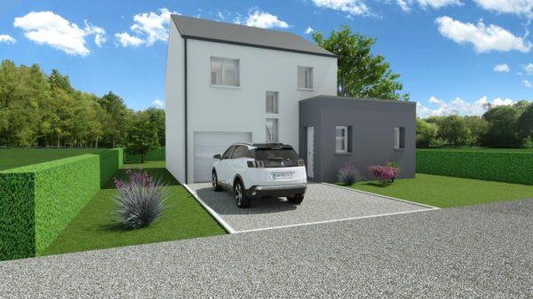 Modèle de Maison MANGANÈSE, 5 pièces de 96m² - Perspective Avant en Ardoise