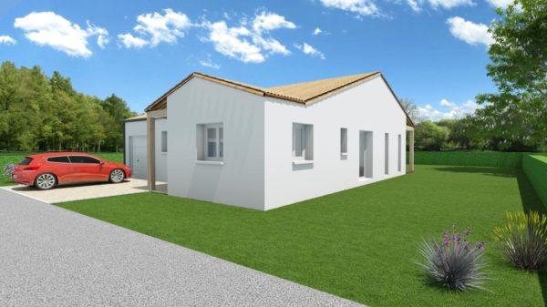 Modèle de Maison OXYLITHE, 4 pièces de 101m² - Perspective Avant en Tuile