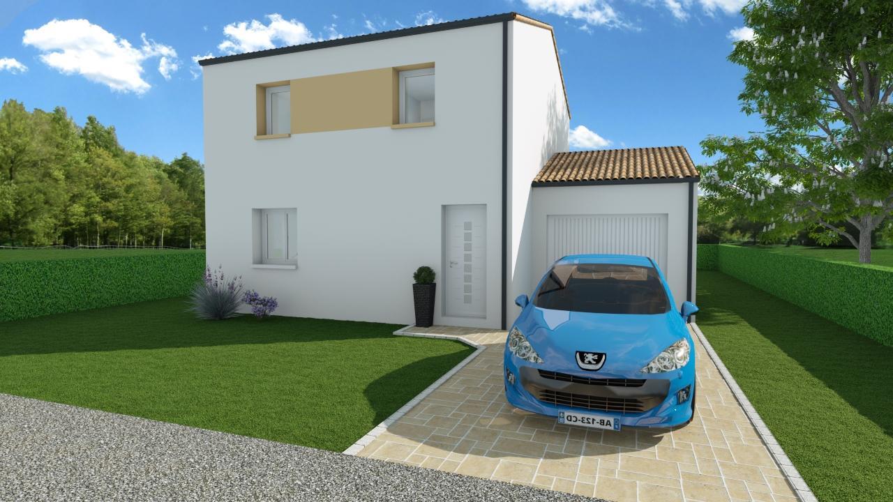 Modèle de Maison MAERL, 5 pièces de 93m² - Perspective Avant en Tuile