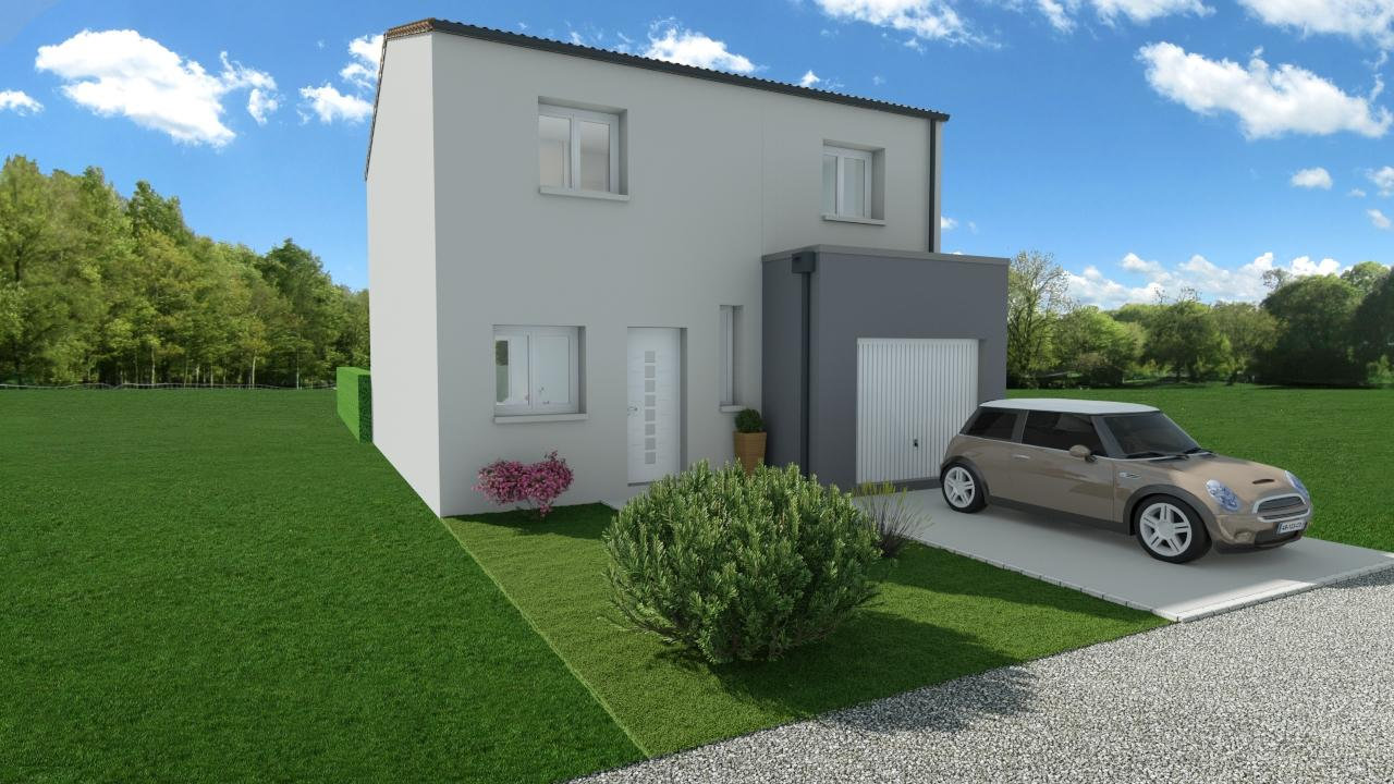 Modèle de Maison PLATINE, 5 pièces de 107m² - Perspective Avant en Tuile