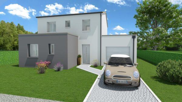 Modèle de Maison POUZZOLANE, 6 pièces de 121m² - Perspective Avant en Tuile