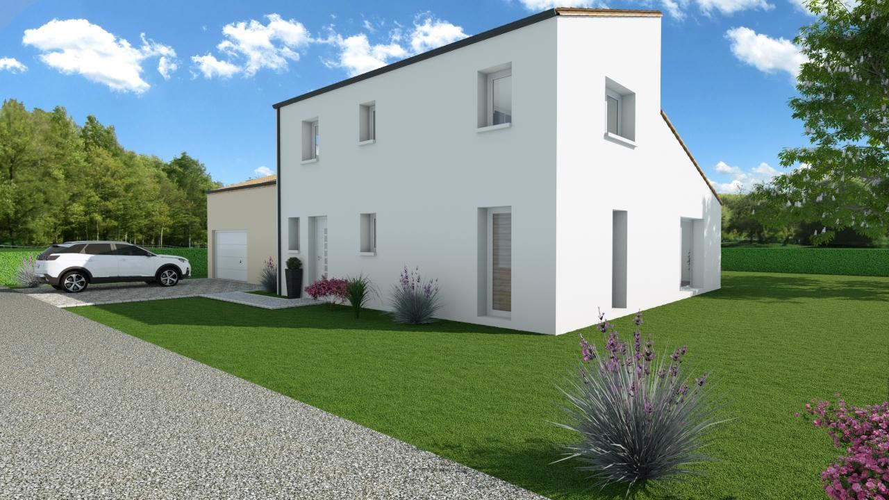 Modèle de Maison PYRITE, 6 pièces de 135m² - Perspective Avant en Tuile