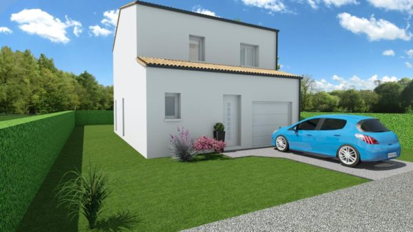 Modèle de Maison LOESS, 4 pièces de 93m² - Perspective Avant en Tuile