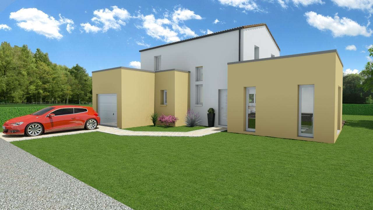 Modèle de Maison PRASÉODYME, 6 pièces de 119m² - Perspective Avant en Tuile