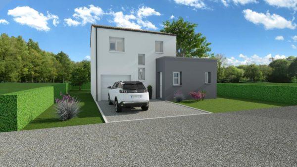 Modèle de Maison MANGANÈSE, 5 pièces de 96m² - Perspective Avant en Tuile
