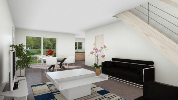 Modèle de Maison PLATINE, 5 pièces de 107m² - Perspective Intérieure du Séjour
