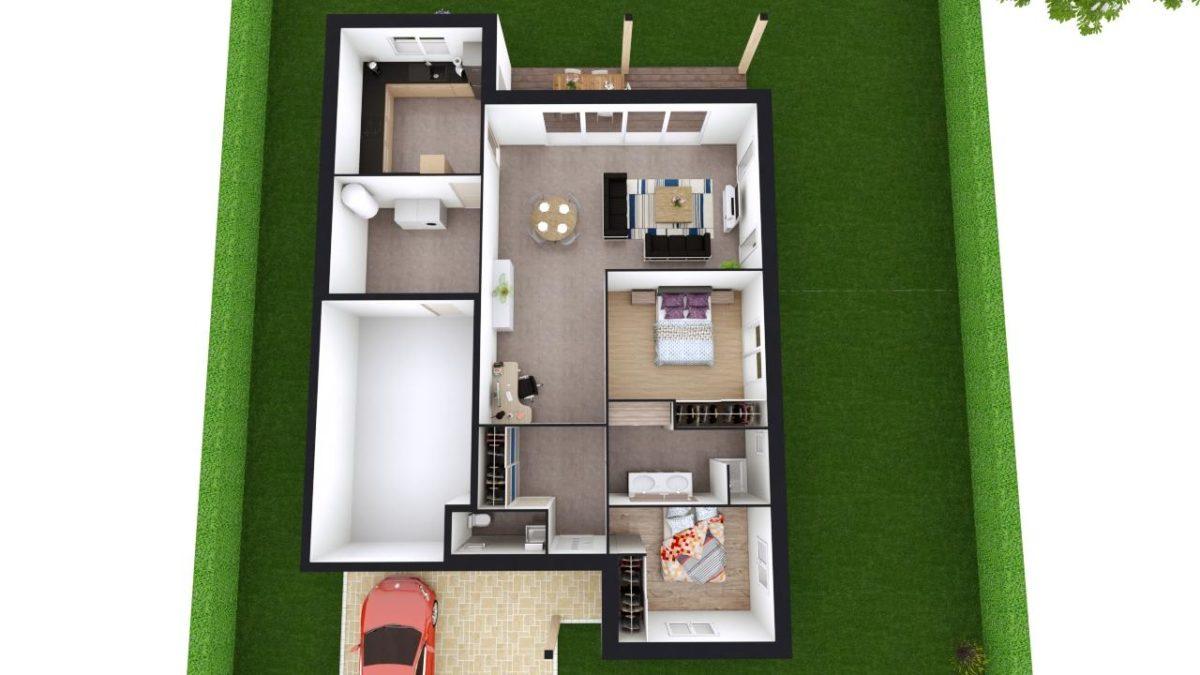 Modèle de Maison OXYLITHE, 4 pièces de 101m² - Proposition d'Aménagement