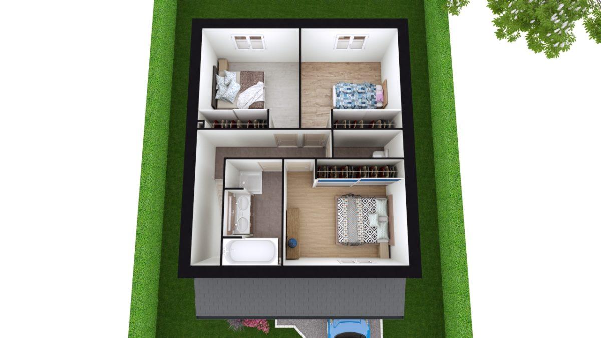 Modèle de Maison LOESS, 4 pièces de 93m² - Proposition d'Aménagement du R+1