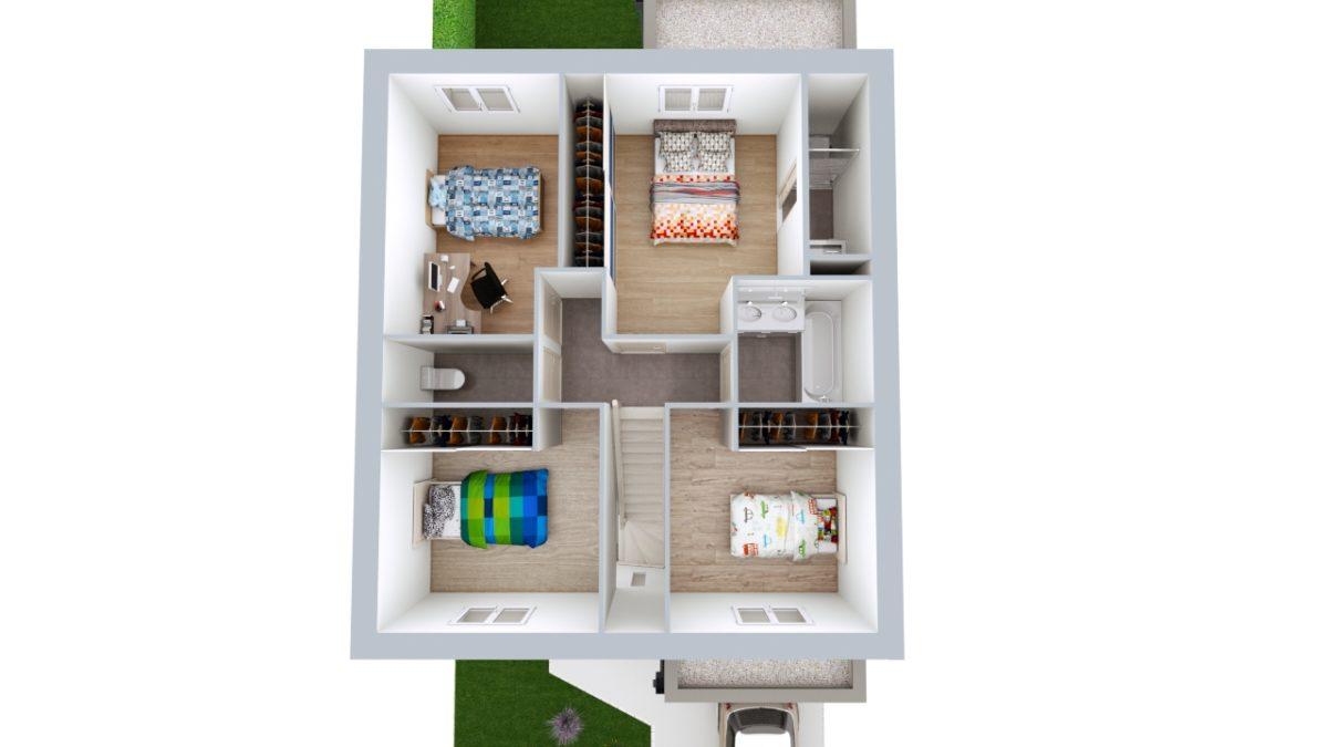 Modèle de Maison PLATINE, 5 pièces de 107m² - Proposition d'Aménagement du R+1
