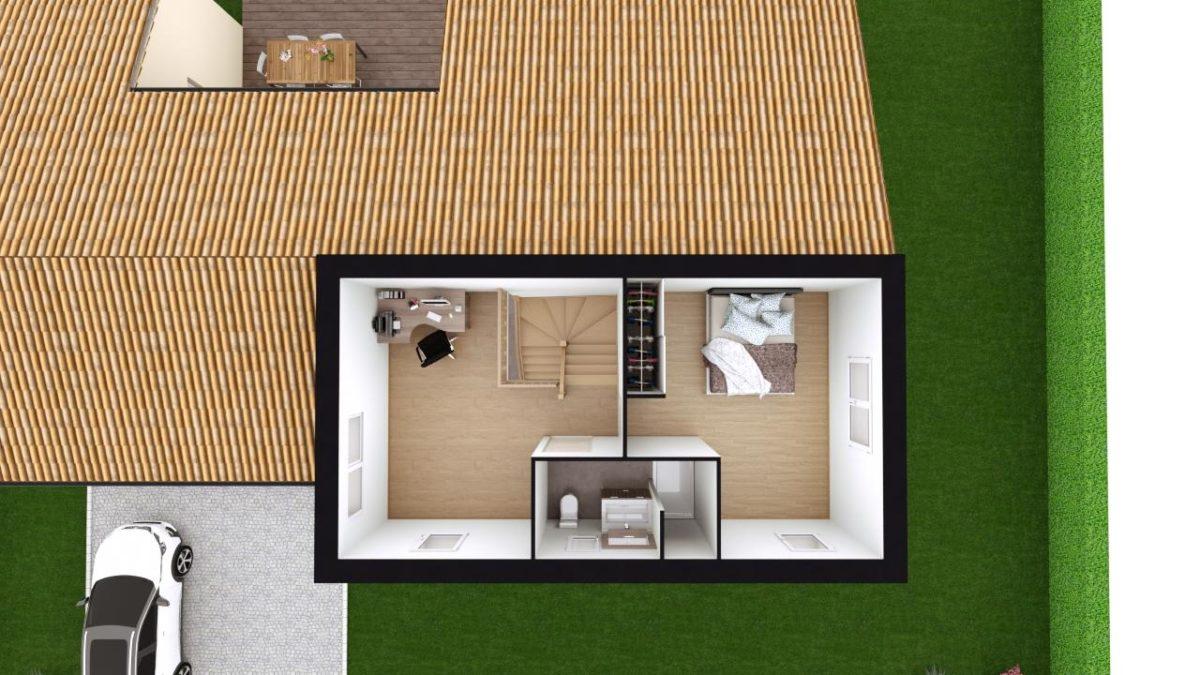 Modèle de Maison PYRITE, 6 pièces de 135m² - Proposition d'Aménagement du R+1