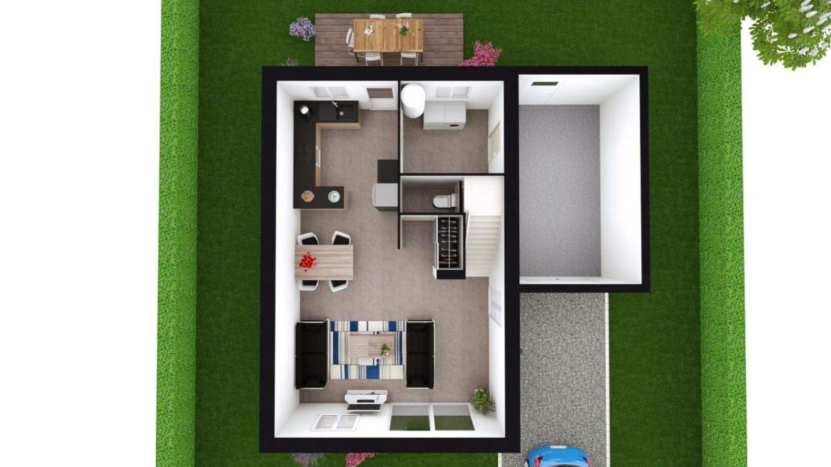 Modèle de Maison GYPSE, 4 pièces de 91m² - Proposition d'Aménagement du RdC